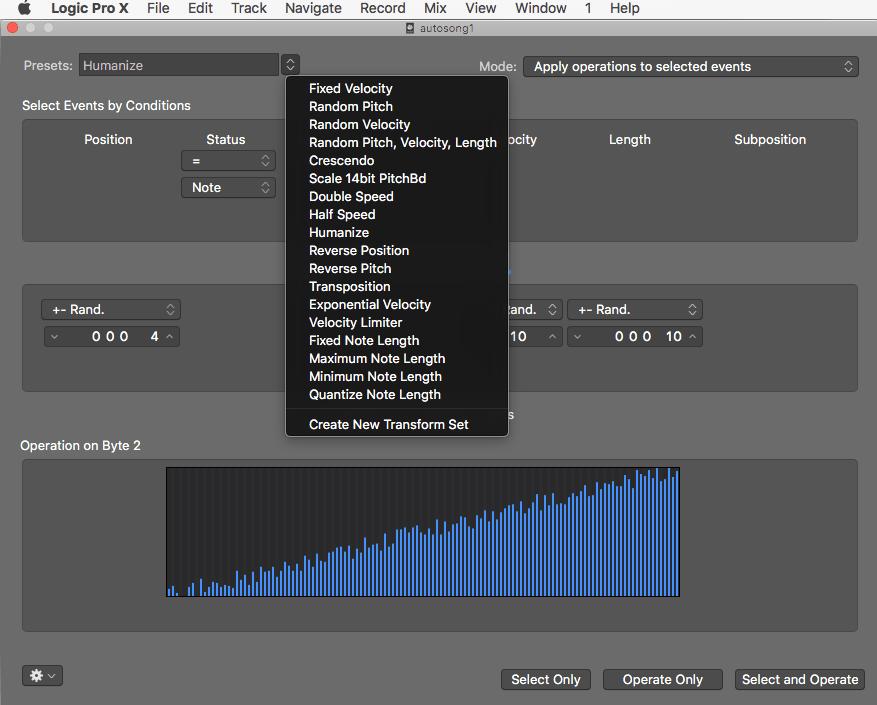 MIDI Transform Window for advanced MIDI editing
